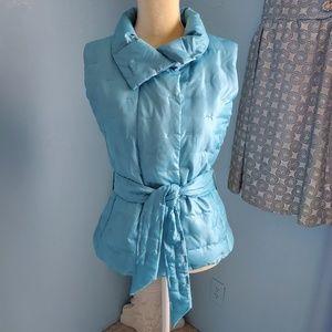 Talbots light blue belted puffer vest